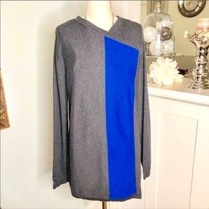 Dana Bachman Gray Colorblock Sweater Cardigan